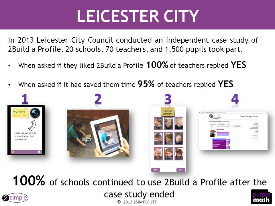 © 2013 2SIMPLE LTD When asked if they liked 2Build a Profile 100% of teachers replied YES When asked if it had saved them time 95% of teachers replied YES LEICESTER CITY In 2013 Leicester City Council conducted an independent case study of 2Build a Profile.