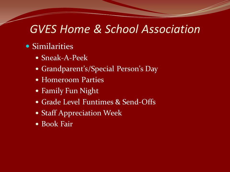 GVES Home & School Association Similarities Sneak-A-Peek Grandparent's/Special Person's Day Homeroom Parties Family Fun Night Grade Level Funtimes & Send-Offs Staff Appreciation Week Book Fair