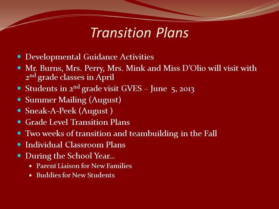 Transition Plans Developmental Guidance Activities Mr.