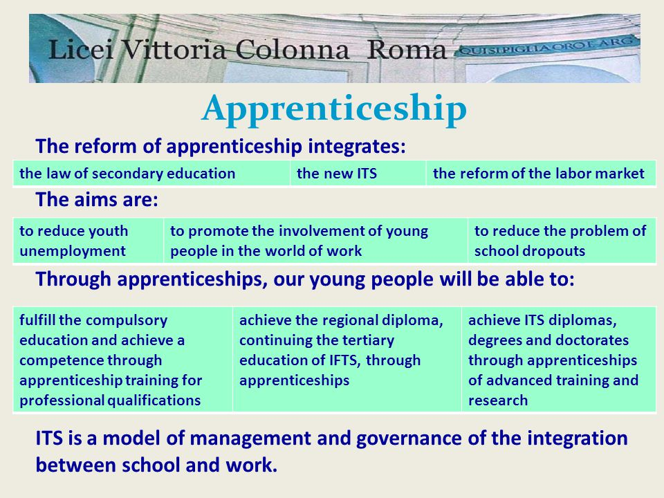 The reform of apprenticeship integrates: The aims are: Through apprenticeships, our young people will be able to: ITS is a model of management and governance of the integration between school and work.