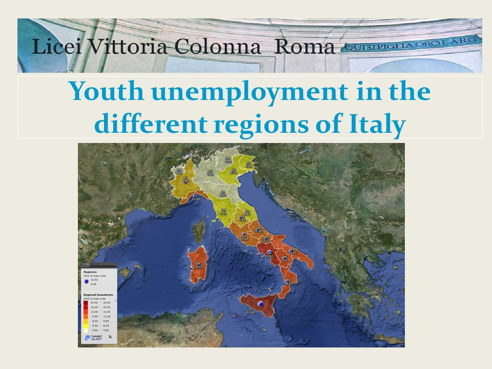 Youth unemployment in the different regions of Italy