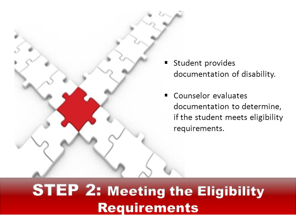  Student provides documentation of disability.  Counselor evaluates documentation to determine, if the student meets eligibility requirements.