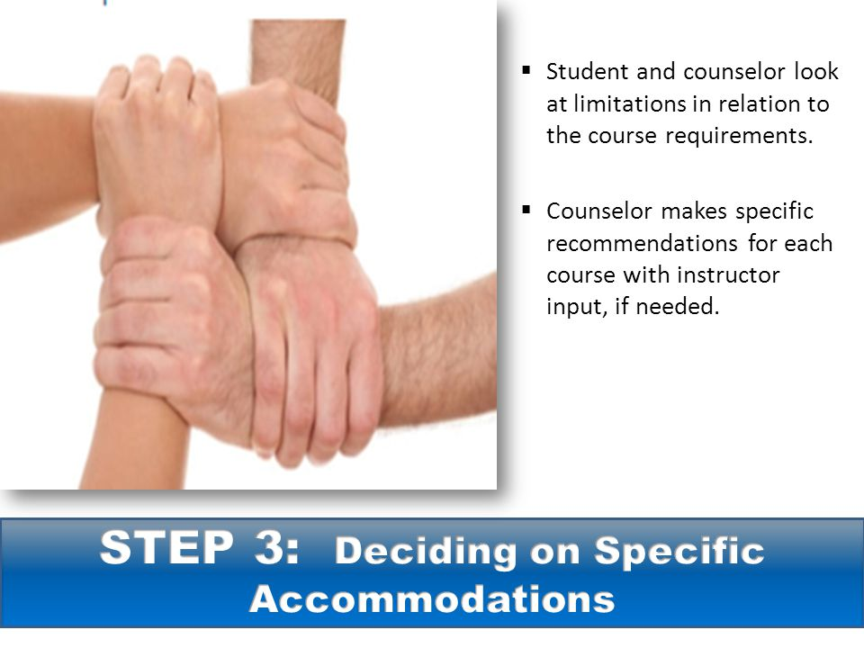  Student and counselor look at limitations in relation to the course requirements.