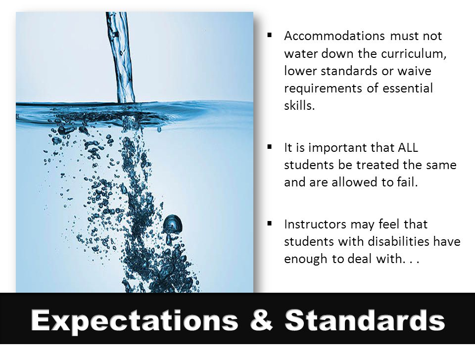  Accommodations must not water down the curriculum, lower standards or waive requirements of essential skills.