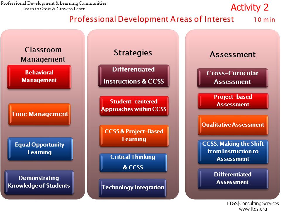 Professional Development & Learning Communities Learn to Grow & Grow to Learn Classroom Management Behavioral Management Time Management Equal Opportunity Learning Demonstrating Knowledge of Students Strategies Differentiated Instructions & CCSS Student-centered Approaches within CCSS CCSS & Project-Based Learning Critical Thinking & CCSS Technology Integration Assessment Cross-Curricular Assessment Project-based Assessment Qualitative Assessment CCSS: Making the Shift from Instruction to Assessment Differentiated Assessment LTGS|Consulting Services www.ltgs.org Activity 2