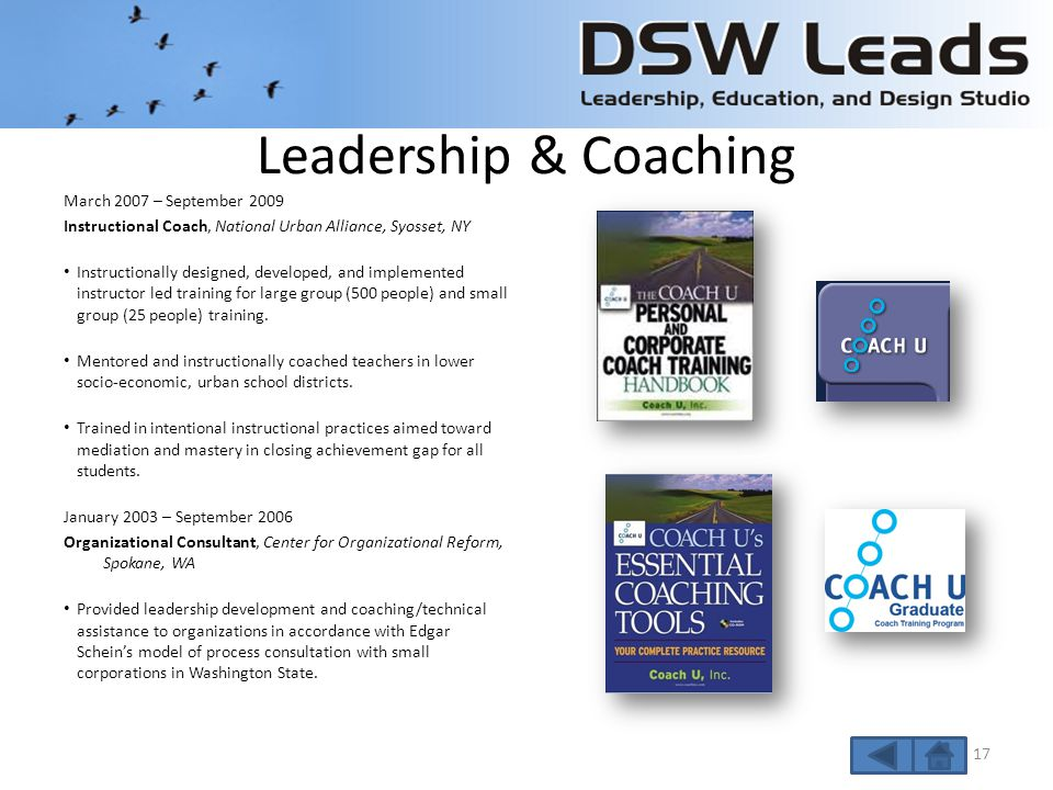 Leadership & Coaching April 2000 – Present Instructional Design Consultant Instructionally designed two-day workshop, developed HR Participant Guide, training materials, case studies, and other materials for Columbia University in a blended learning format.