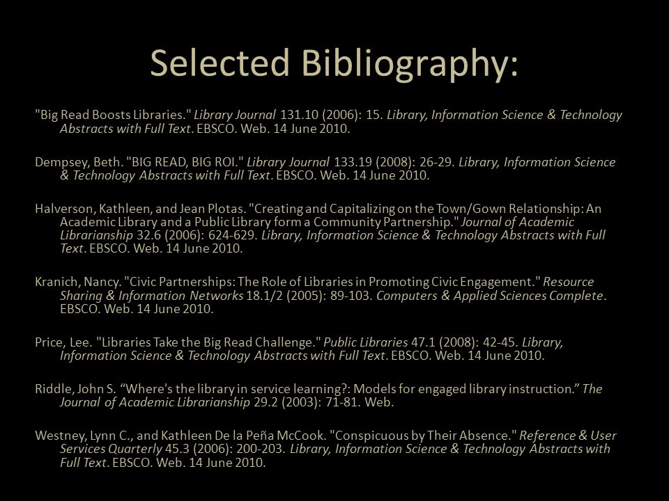 Selected Bibliography: Big Read Boosts Libraries. Library Journal 131.10 (2006): 15.