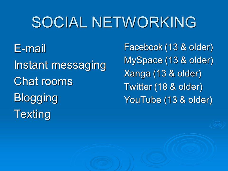 SOCIAL NETWORKING E-mail Instant messaging Chat rooms BloggingTexting Facebook (13 & older) MySpace (13 & older) Xanga (13 & older) Twitter (18 & olde