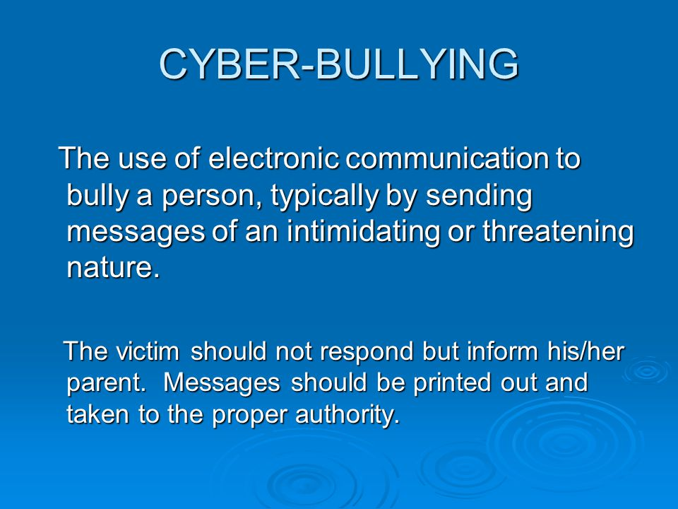 The use of electronic communication to bully a person, typically by sending messages of an intimidating or threatening nature.
