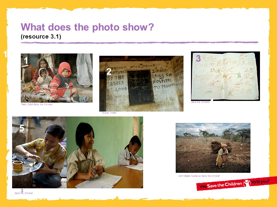 3 What does the photo show? (resource 3.1) 1 3 3 4 5 1 Karin Beate Nøsterud/ Save the Children 2 Peter Caton/Save the Children Aubrey Wade Save the Ch