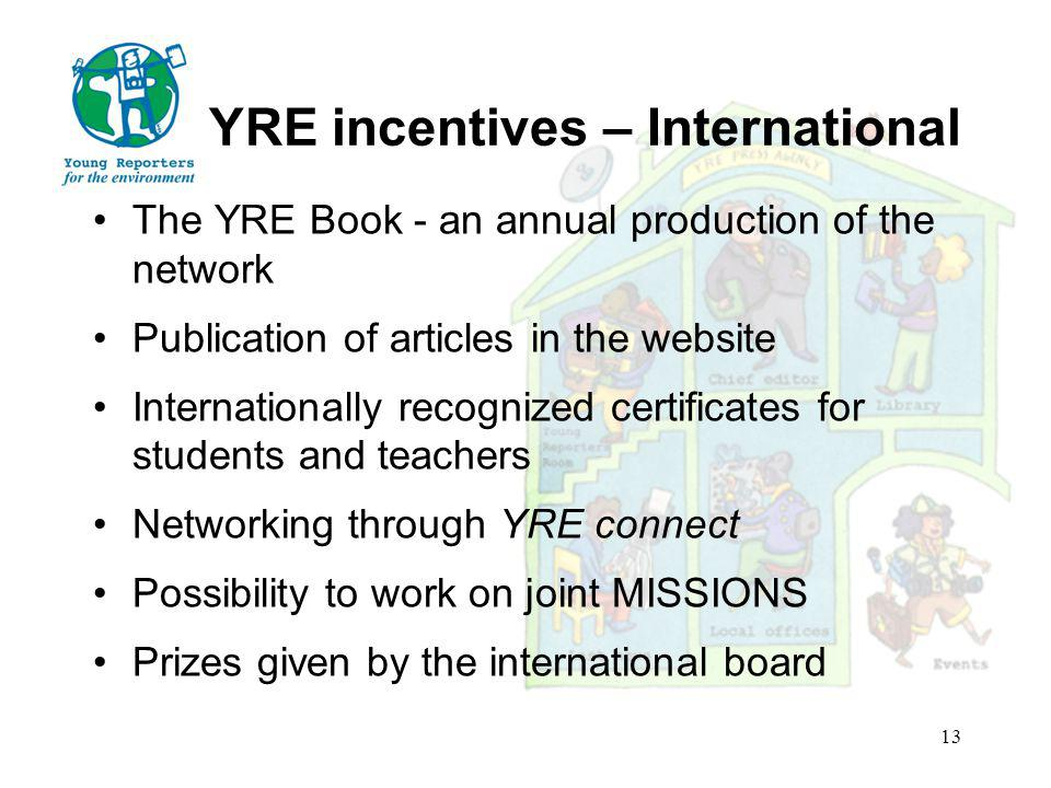 YRE incentives – International The YRE Book - an annual production of the network Publication of articles in the website Internationally recognized certificates for students and teachers Networking through YRE connect Possibility to work on joint MISSIONS Prizes given by the international board 13