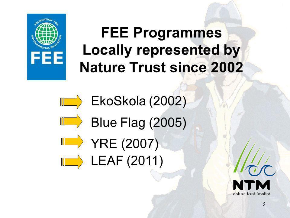 FEE Programmes Locally represented by Nature Trust since 2002 EkoSkola (2002) Blue Flag (2005) YRE (2007) LEAF (2011) 3