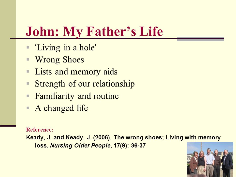 John: My Father's Life  ' Living in a hole '  Wrong Shoes  Lists and memory aids  Strength of our relationship  Familiarity and routine  A chang