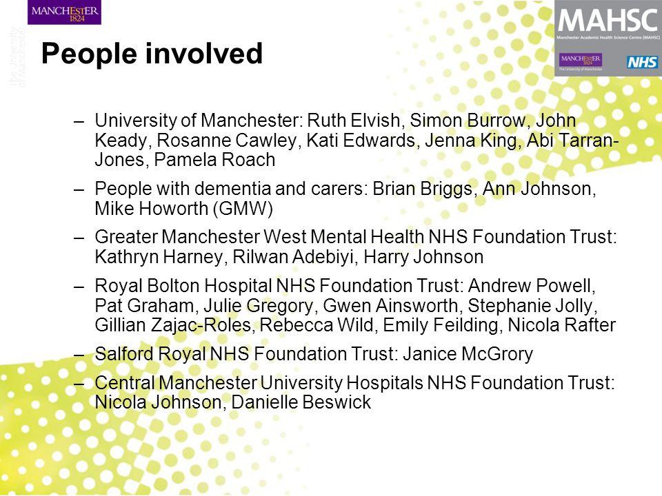 People involved –University of Manchester: Ruth Elvish, Simon Burrow, John Keady, Rosanne Cawley, Kati Edwards, Jenna King, Abi Tarran- Jones, Pamela