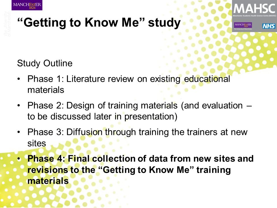 """""""Getting to Know Me"""" study Study Outline Phase 1: Literature review on existing educational materials Phase 2: Design of training materials (and evalu"""