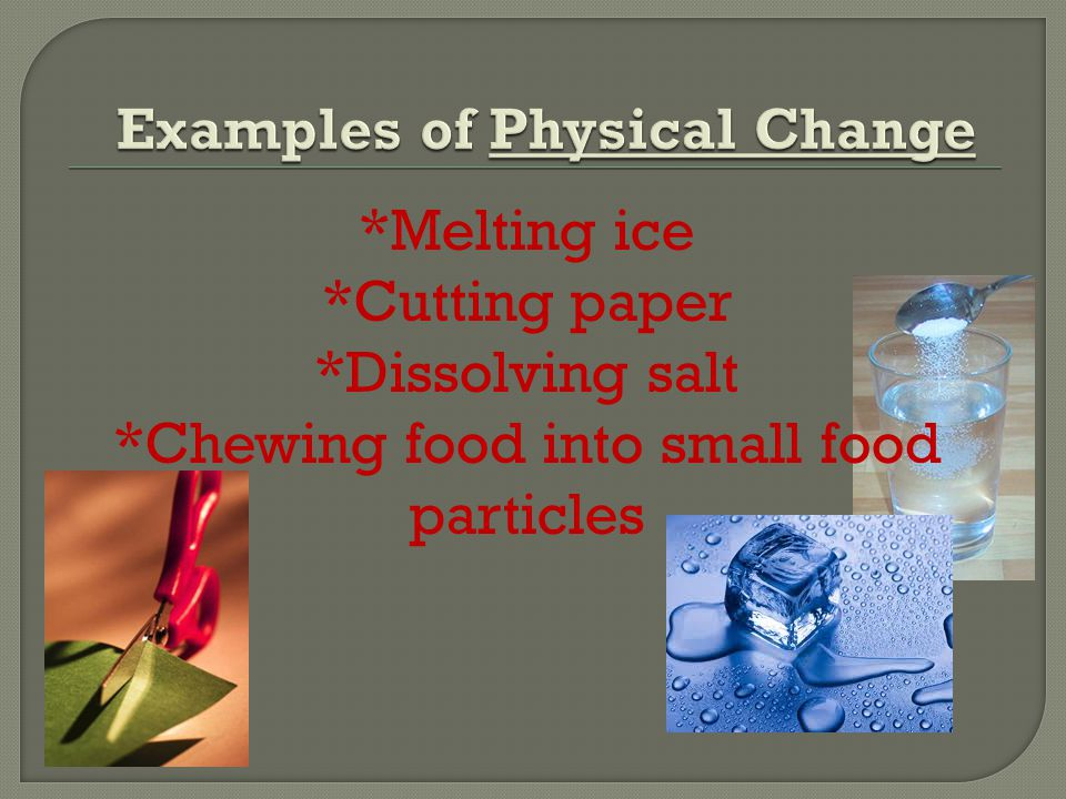 *Melting ice *Cutting paper *Dissolving salt *Chewing food into small food particles