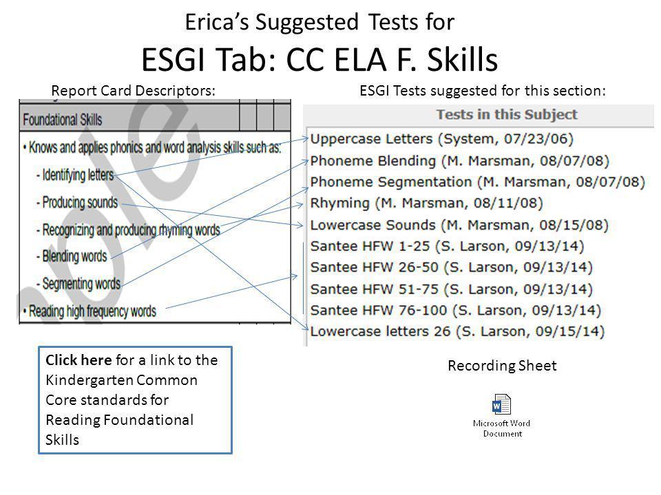 Erica's Suggested Tests for ESGI Tab: CC ELA F.