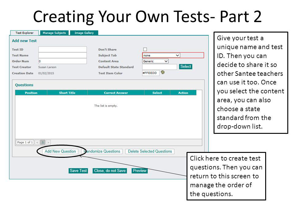 Creating Your Own ESGI Tests- Part 3 The Short Title is how the question will appear on reports.