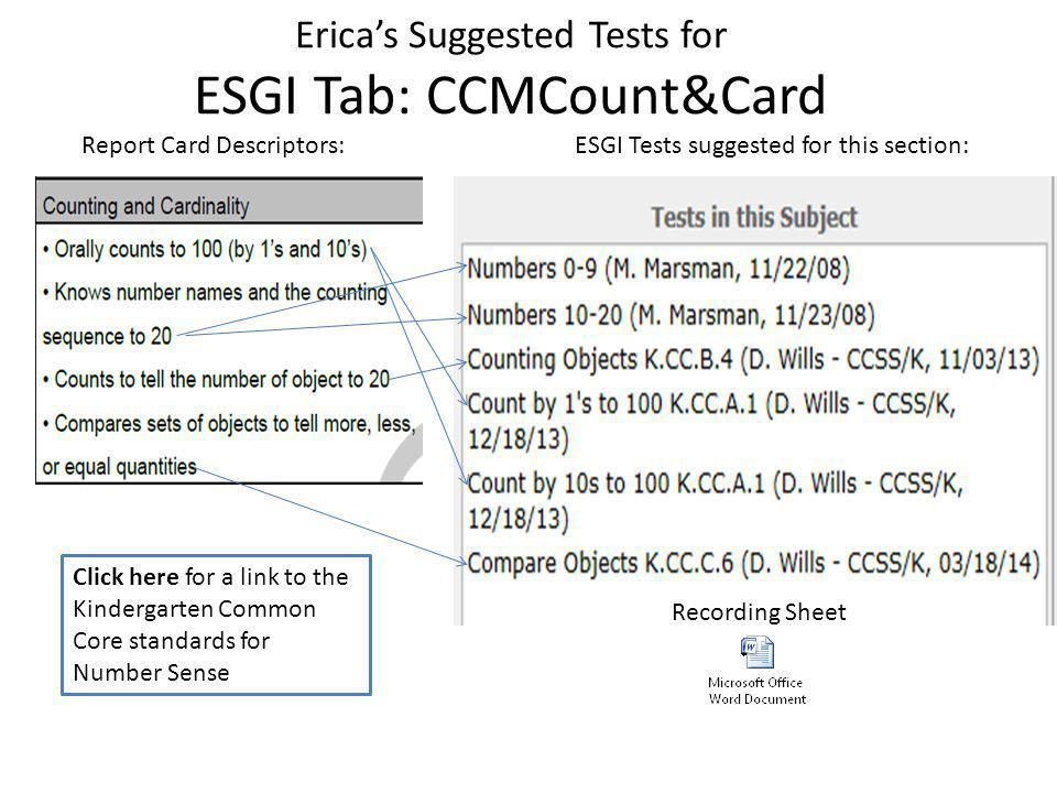 Erica's Suggested Tests for ESGI Tab: CCM Ops & Algebraic ESGI Tests suggested for this section:Report Card Descriptors: Recording Sheet Click here for a link to the Kindergarten Common Core standards for Operations and Algebraic Thinking