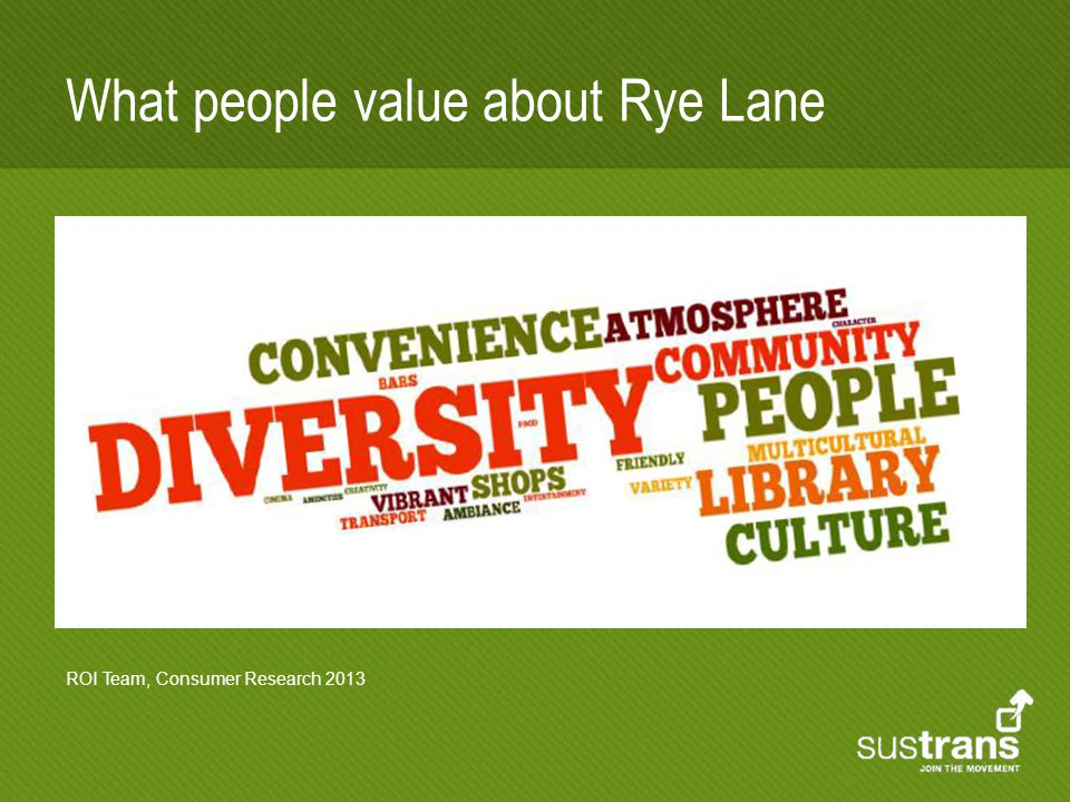 What people value about Rye Lane ROI Team, Consumer Research 2013
