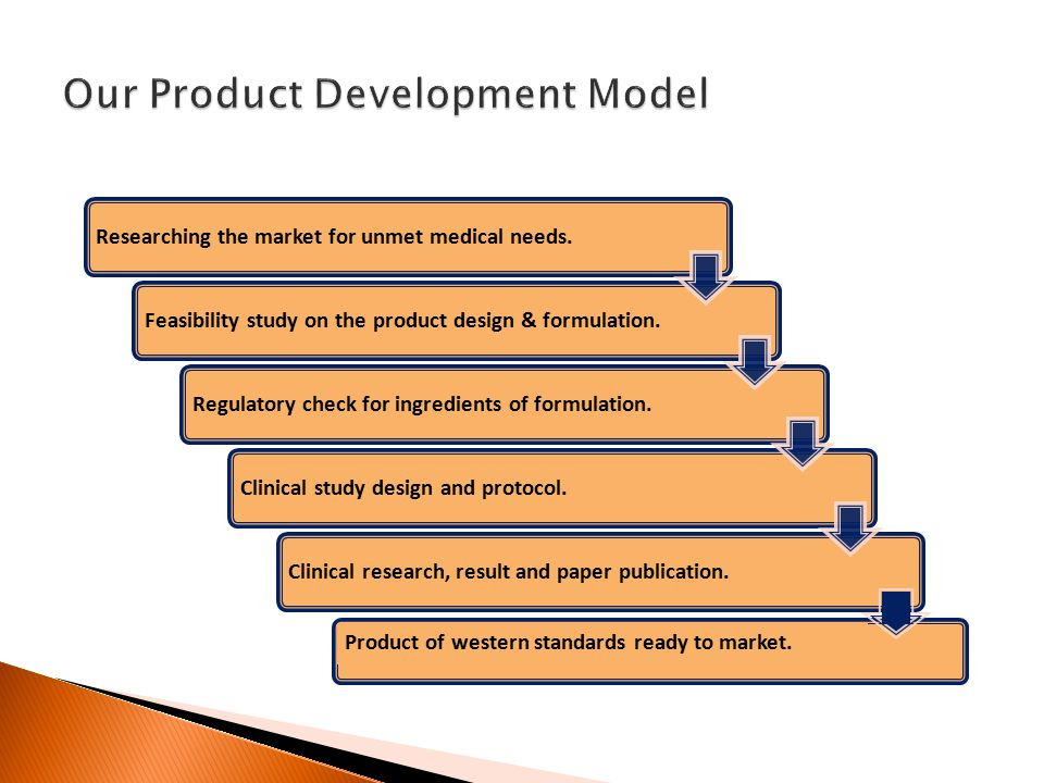 Researching the market for unmet medical needs.Feasibility study on the product design & formulation.Regulatory check for ingredients of formulation.Clinical study design and protocol.Clinical research, result and paper publication.