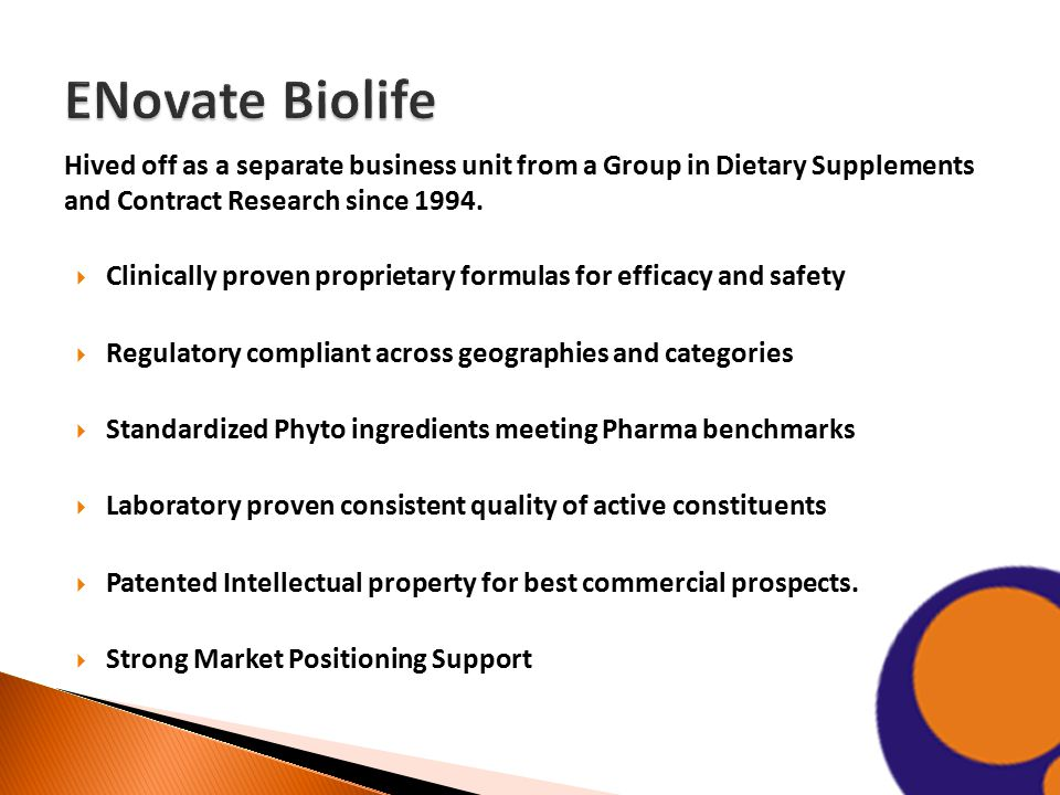Hived off as a separate business unit from a Group in Dietary Supplements and Contract Research since 1994.  Clinically proven proprietary formulas f