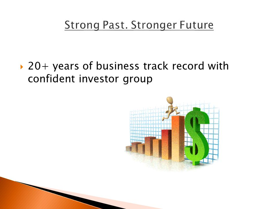  20+ years of business track record with confident investor group
