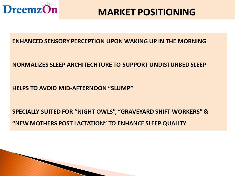 MARKET POSITIONING ENHANCED SENSORY PERCEPTION UPON WAKING UP IN THE MORNING NORMALIZES SLEEP ARCHITECHTURE TO SUPPORT UNDISTURBED SLEEP HELPS TO AVOI