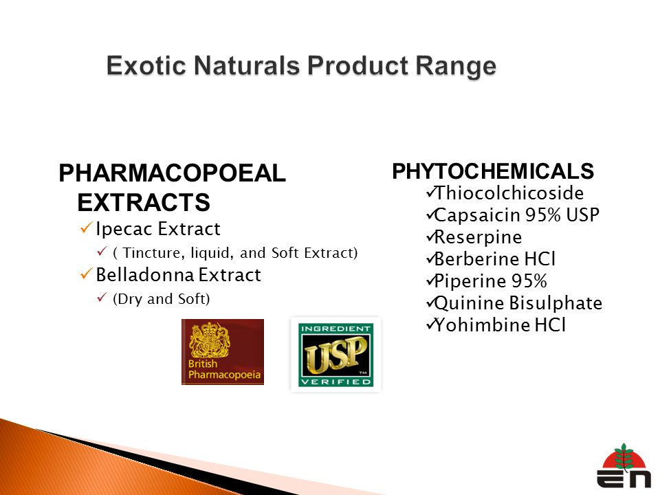 PHARMACOPOEAL EXTRACTS Ipecac Extract ( Tincture, liquid, and Soft Extract) Belladonna Extract (Dry and Soft) PHYTOCHEMICALS Thiocolchicoside Capsaicin 95% USP Reserpine Berberine HCl Piperine 95% Quinine Bisulphate Yohimbine HCl
