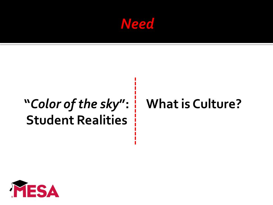 """Color of the sky"": Student Realities What is Culture?"