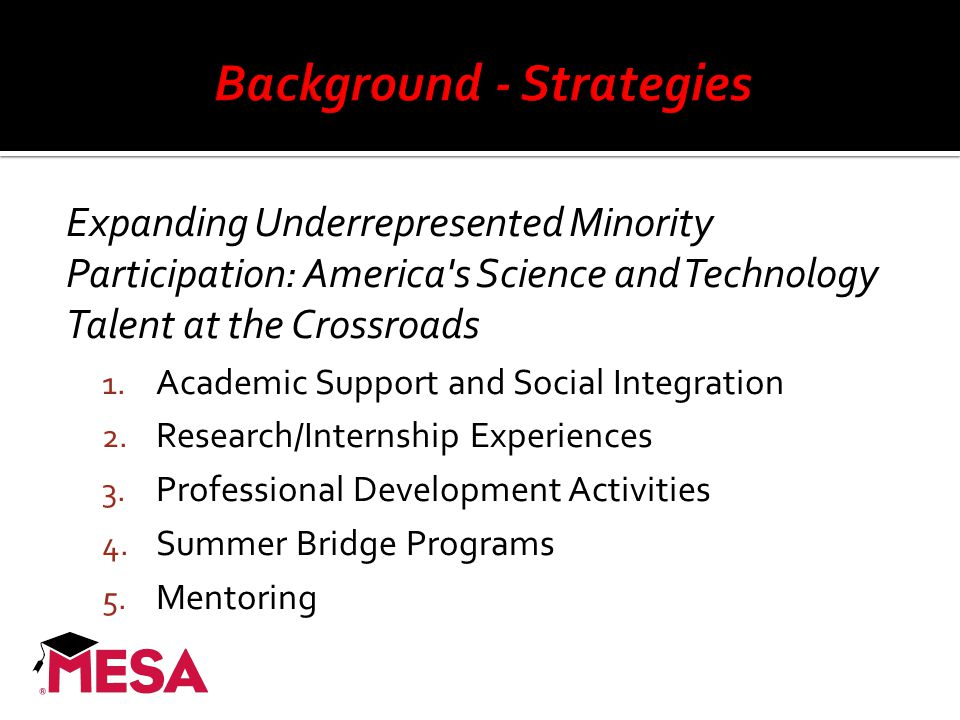 Expanding Underrepresented Minority Participation: America's Science and Technology Talent at the Crossroads 1. Academic Support and Social Integratio