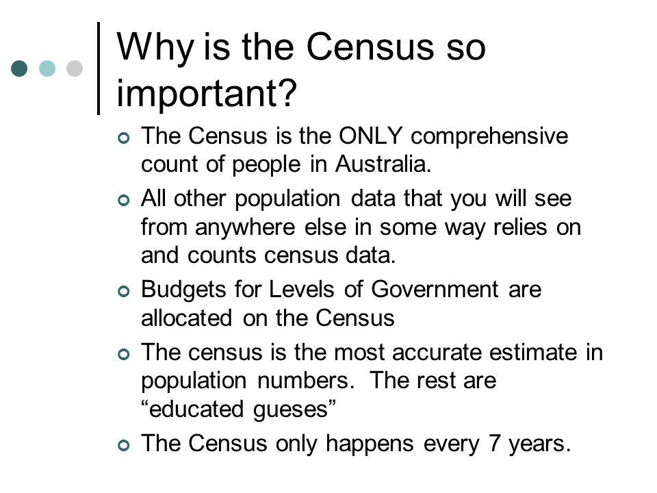 Why is the Census so important. The Census is the ONLY comprehensive count of people in Australia.