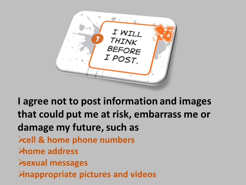 I will not  post anything rude, offensive, or threatening  send or forward images and information that might embarrass, hurt or harass someone  take anyone's personal information and use it to damage his or her reputation