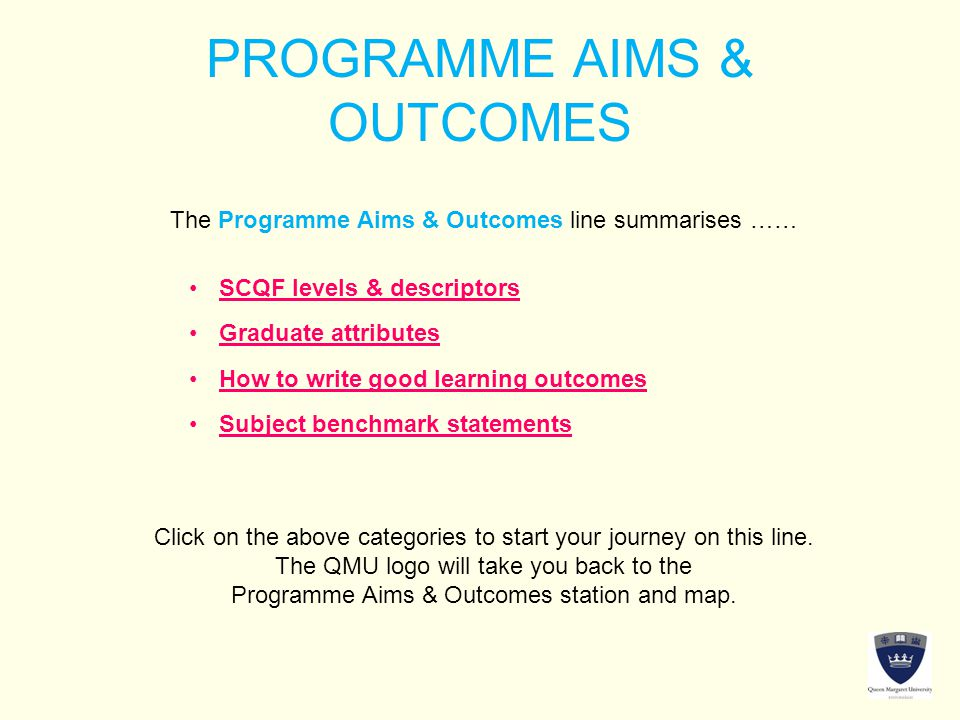 PROGRAMME AIMS & OUTCOMES The Programme Aims & Outcomes line summarises …… Click on the above categories to start your journey on this line. The QMU l