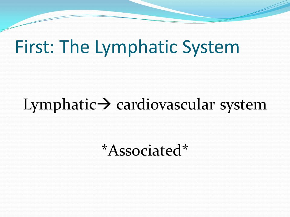 First: The Lymphatic System Lymphatic  cardiovascular system *Associated*