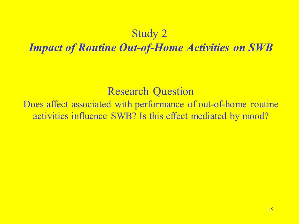 15 Study 2 Impact of Routine Out-of-Home Activities on SWB Research Question Does affect associated with performance of out-of-home routine activities