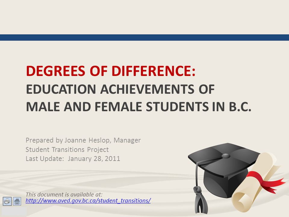 DEGREES OF DIFFERENCE: EDUCATION ACHIEVEMENTS OF MALE AND FEMALE STUDENTS IN B.C.