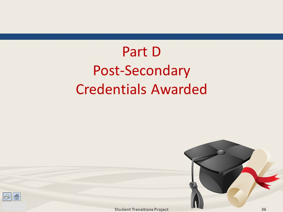 Part D Post-Secondary Credentials Awarded Student Transitions Project36