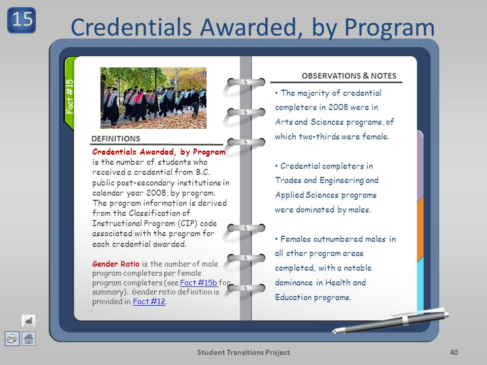 DEFINITIONS OBSERVATIONS & NOTES Student Transitions Project40 Credentials Awarded, by Program is the number of students who received a credential from B.C.