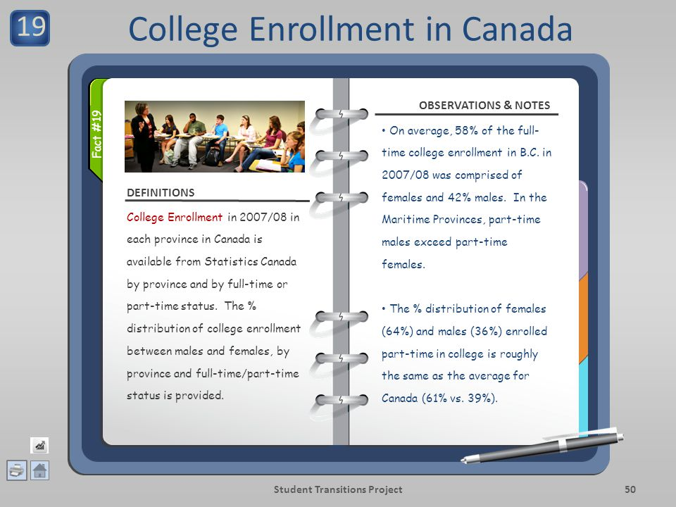 DEFINITIONS OBSERVATIONS & NOTES Student Transitions Project50 College Enrollment in 2007/08 in each province in Canada is available from Statistics Canada by province and by full-time or part-time status.
