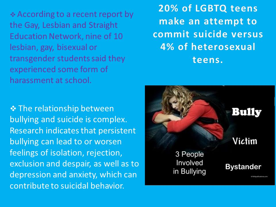  The relationship between bullying and suicide is complex. Research indicates that persistent bullying can lead to or worsen feelings of isolation, r