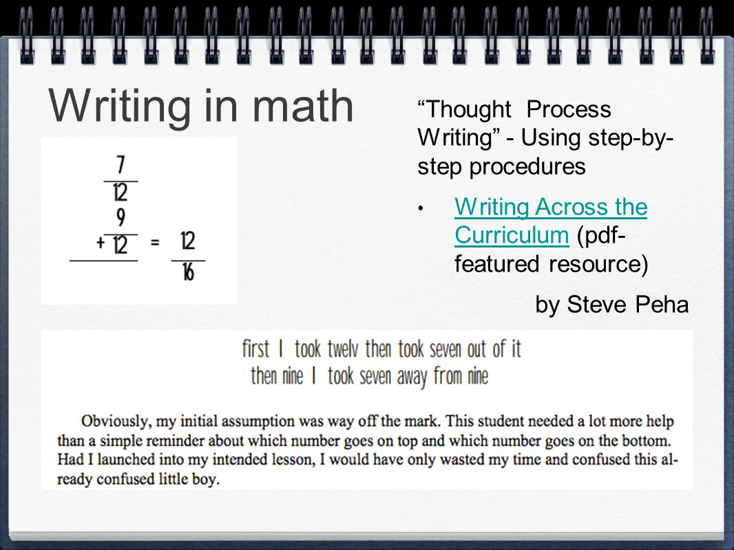 Writing in math Thought Process Writing - Using step-by- step procedures Writing Across the Curriculum (pdf- featured resource) Writing Across the Curriculum by Steve Peha