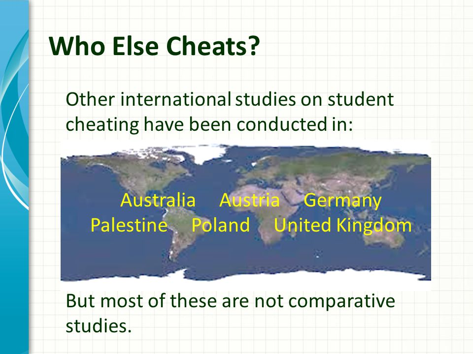 Other international studies on student cheating have been conducted in: Australia Austria Germany Palestine Poland United Kingdom But most of these are not comparative studies.