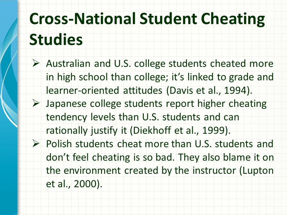 Cross-National Student Cheating Studies  Australian and U.S.