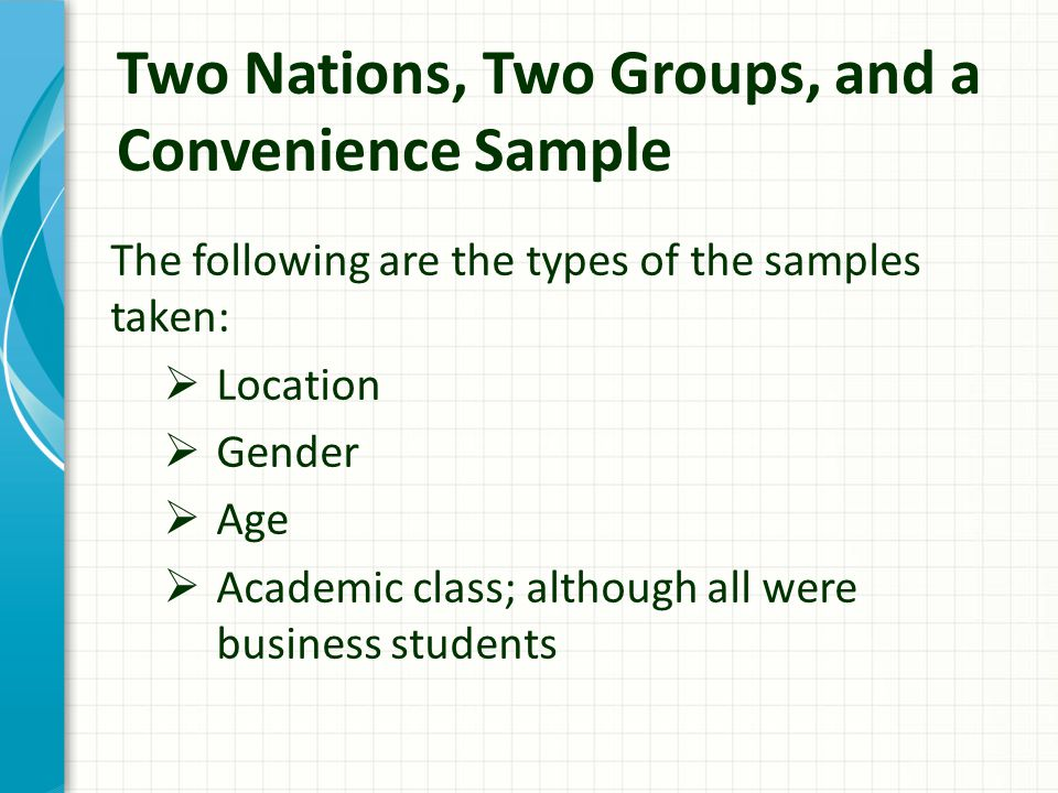 Two Nations, Two Groups, and a Convenience Sample The following are the types of the samples taken:  Location  Gender  Age  Academic class; although all were business students