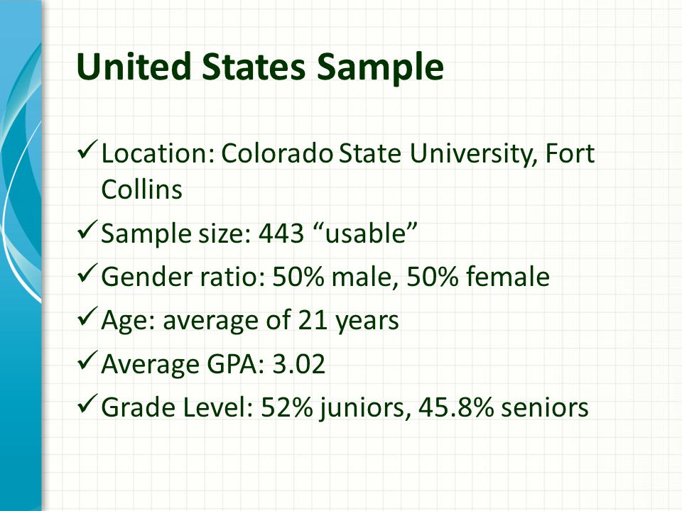 United States Sample Location: Colorado State University, Fort Collins Sample size: 443 usable Gender ratio: 50% male, 50% female Age: average of 21 years Average GPA: 3.02 Grade Level: 52% juniors, 45.8% seniors