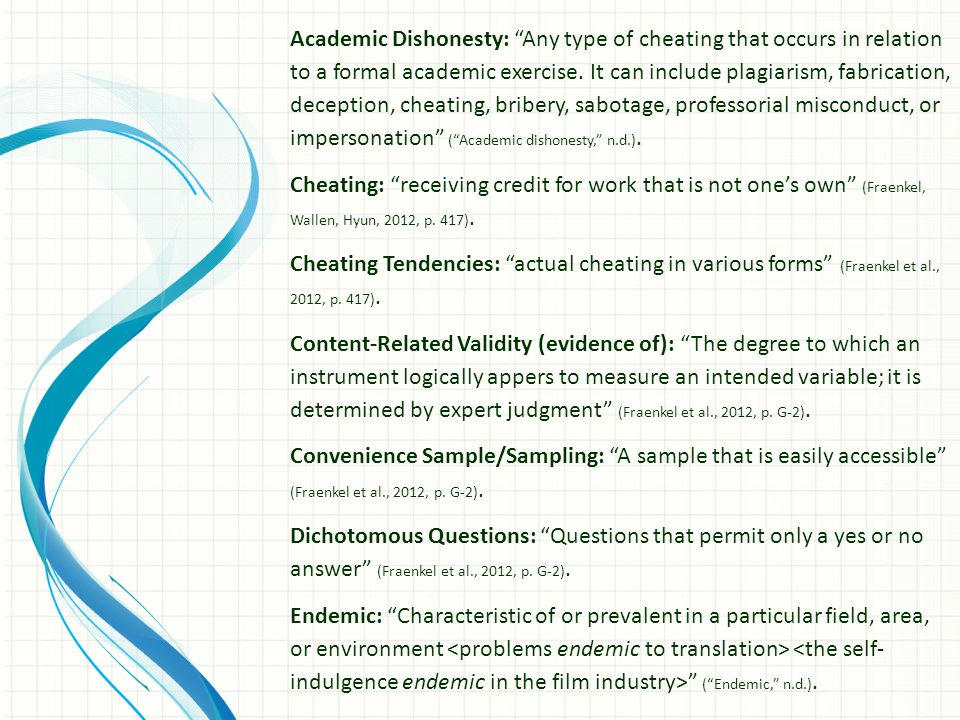 The following questions are also located in iLearn 1.The researchers used a self-report questionnaire consisting of a series of yes/no questions, scalar questions, and one question that asked participants to assess perception of cheating behavior among peers.