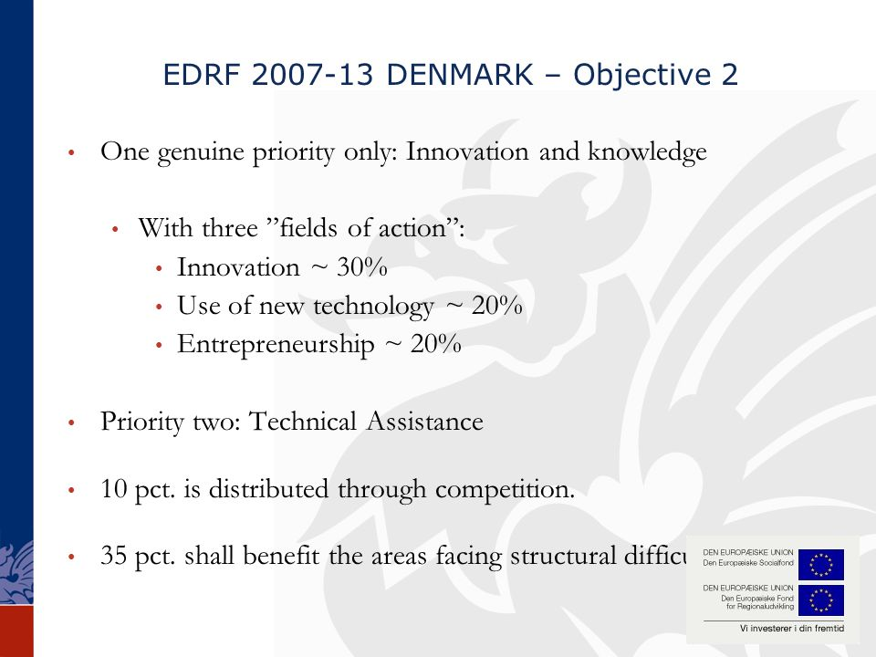 EDRF 2007-13 DENMARK – Objective 2 One genuine priority only: Innovation and knowledge With three fields of action : Innovation ~ 30% Use of new technology ~ 20% Entrepreneurship ~ 20% Priority two: Technical Assistance 10 pct.
