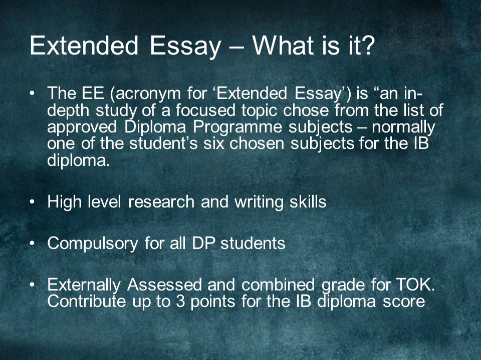 Extended Essay – What is it.