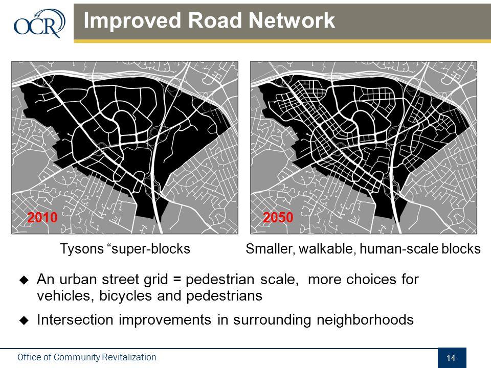 "Office of Community Revitalization Improved Road Network 14 Tysons ""super-blocksSmaller, walkable, human-scale blocks  An urban street grid = pedestr"